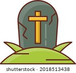 grave vector flat color icon | Shutterstock .eps vector #2018513438