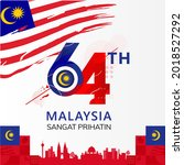 happy malaysia independence day ... | Shutterstock .eps vector #2018527292