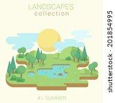 flat style land scenic sunny... | Shutterstock .eps vector #201854995