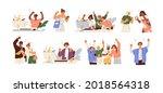 set of happy lucky people... | Shutterstock .eps vector #2018564318