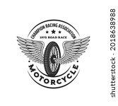 bike wheel with wings. racing...   Shutterstock .eps vector #2018638988
