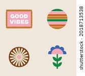 70s retro collection set  ... | Shutterstock .eps vector #2018713538