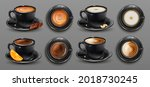 realistic 3d black cups of... | Shutterstock .eps vector #2018730245