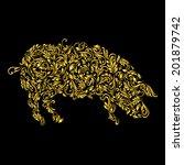 Floral Gold Pattern Of Vines I...