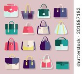 flat icons set of fashion bags... | Shutterstock .eps vector #201887182