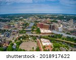 Aerial View of Downtown Flint, Michigan in Summer