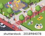 people doing various activities ... | Shutterstock .eps vector #2018984078