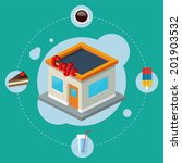 cafe isometric building  flat... | Shutterstock .eps vector #201903532