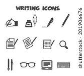 writing icons  mono vector... | Shutterstock .eps vector #201906676