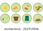 Illustration of Ready to Print Stickers Featuring Composting Icons