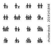 family people vector icons set  ... | Shutterstock .eps vector #2019141848