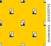 cat in window pattern seamless. ... | Shutterstock .eps vector #2019155792