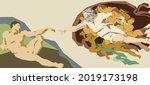 classical art piece modernized... | Shutterstock .eps vector #2019173198
