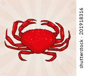 hand drawn red crab on a... | Shutterstock .eps vector #201918316