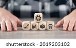 Small photo of Concept of SCM with icons on wooden cubes