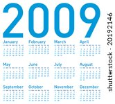 Simple Blue Calendar For 2009.