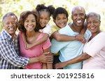 multi generation  family in park | Shutterstock . vector #201925816