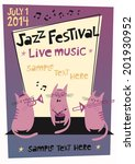 Jazz Festival Poster In Cartoo...