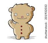 cartoon waving teddy bear   Shutterstock . vector #201932032