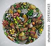 hawaii cartoon vector doodles...   Shutterstock .eps vector #2019331415