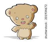 cartoon teddy bear waving   Shutterstock . vector #201934672