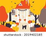 happy halloween vector... | Shutterstock .eps vector #2019402185