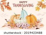 watercolor happy thanksgiving... | Shutterstock .eps vector #2019423488