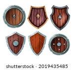wooden shield vector...