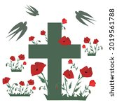 Cross in the poppy field and swallows in silhouette Cemetery headstone with poppies. Vector illustration for Remembrance Day, Anzac Day Isolated on white background