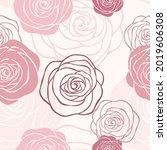 vector pink seamless floral... | Shutterstock .eps vector #2019606308