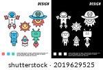 set of space theme cartoon...   Shutterstock .eps vector #2019629525