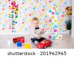 joyful kid boy on first... | Shutterstock . vector #201962965