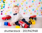 joyful kid boy on birthday... | Shutterstock . vector #201962968