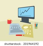modern workplace with monitor... | Shutterstock .eps vector #201964192