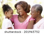 multi generation  family in park   Shutterstock . vector #201965752