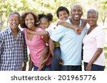 multi generation  family in park   Shutterstock . vector #201965776
