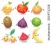 funny fruits set. vector... | Shutterstock .eps vector #201971218