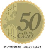 vector image of fifty euro cent....   Shutterstock .eps vector #2019741695