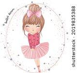 cute little ballerina girl....   Shutterstock .eps vector #2019835388
