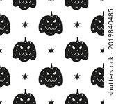 black and white halloween...   Shutterstock .eps vector #2019840485