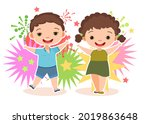 child with salute. little boy... | Shutterstock .eps vector #2019863648