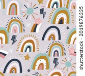 seamless childish pattern with... | Shutterstock .eps vector #2019876335