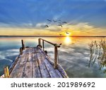 sunset hdr on wooden pier | Shutterstock . vector #201989692
