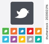 Social media icon. Short messages twitter retweet symbol. Rounded squares 11 buttons. Vector