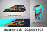 sport car wrap and t shirt... | Shutterstock .eps vector #2020056908