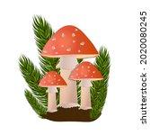 red amanita mushrooms in forest ...   Shutterstock .eps vector #2020080245