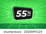 55  off. green banner with...   Shutterstock .eps vector #2020095125