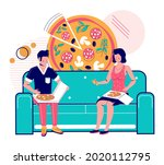 happy couple eating takeaway...   Shutterstock .eps vector #2020112795