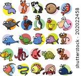 set of cute cartoon animals  | Shutterstock .eps vector #202022458