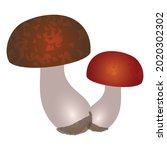 Flat Art Mushrooms With Round...